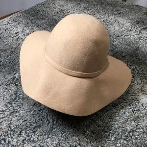Wool floppy-wide brim tan festival hat